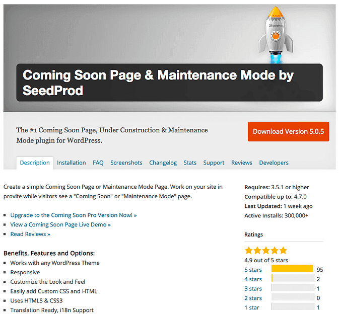 Coming Soon Page & Maintenance Mode by SeedProd plugin