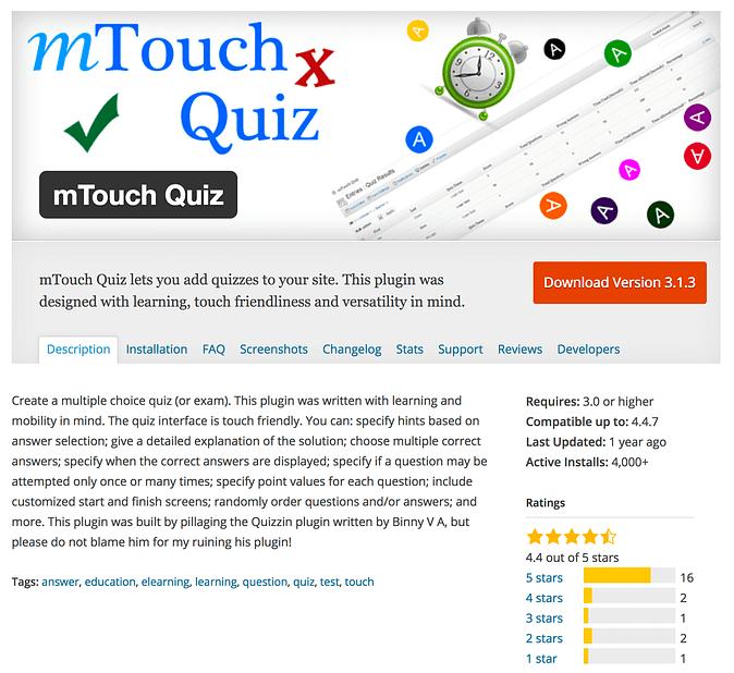 mTouch Quiz plugin