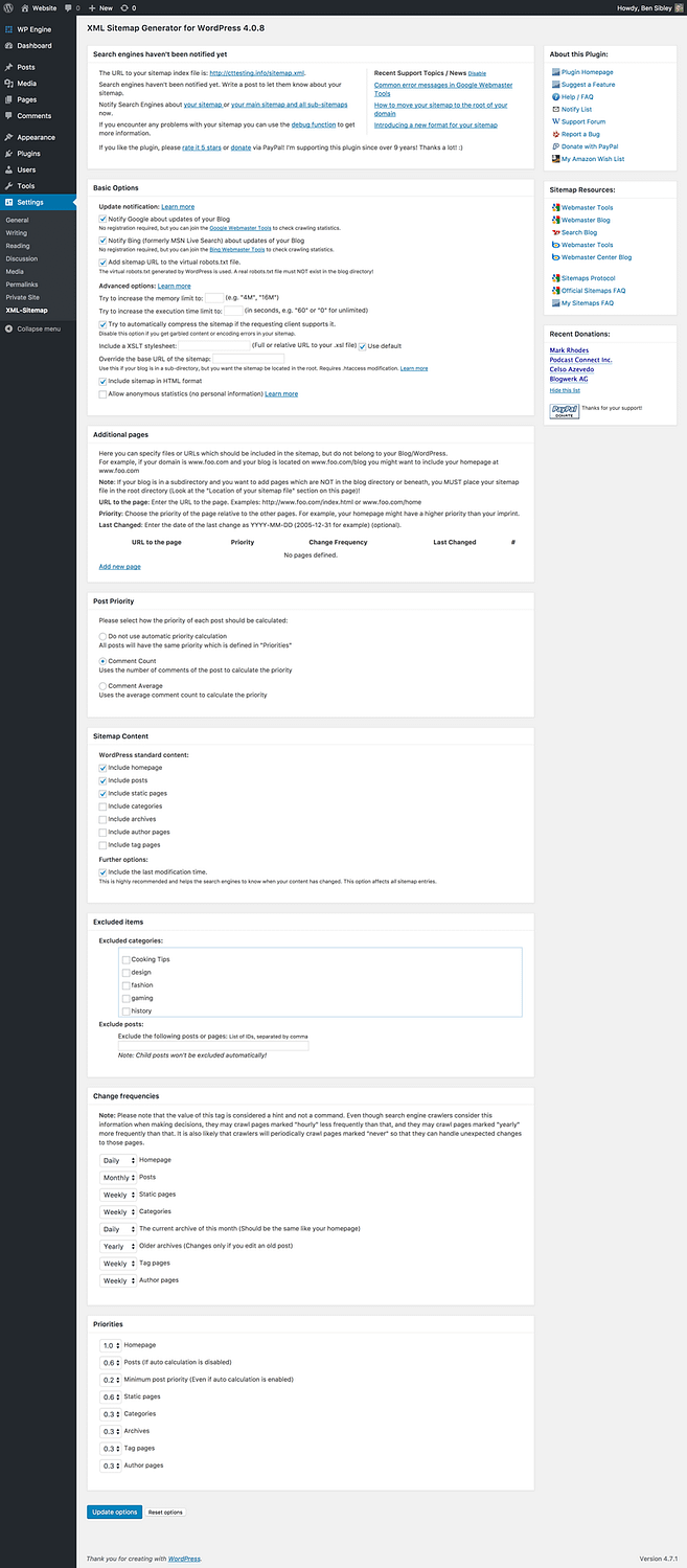 Google XML Sitemaps settings menu