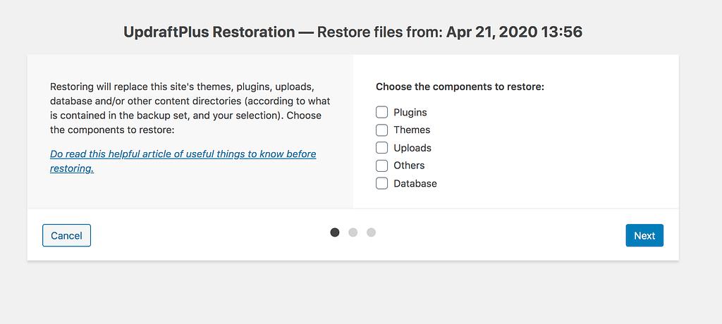 Site Restore Wizard