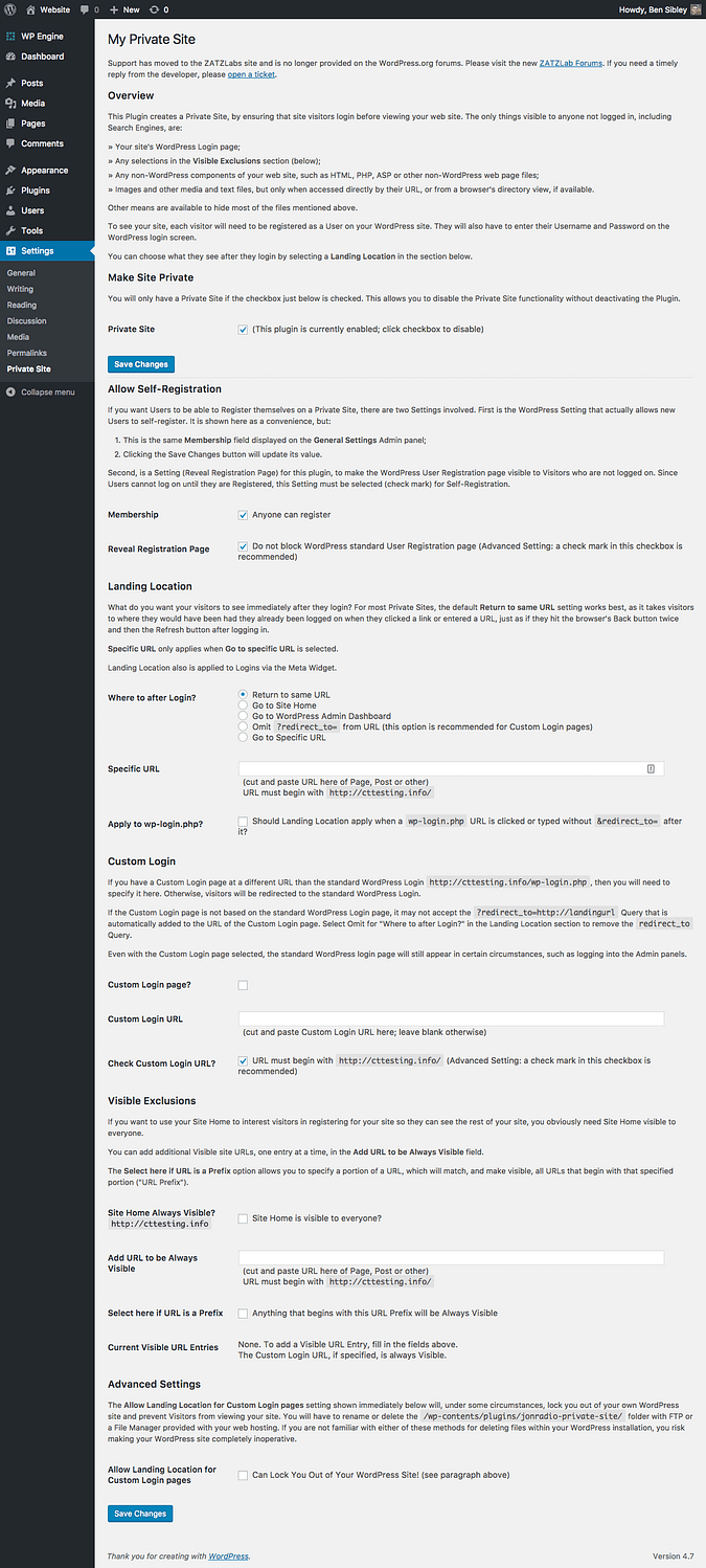 complete settings page screenshot for My Private Site