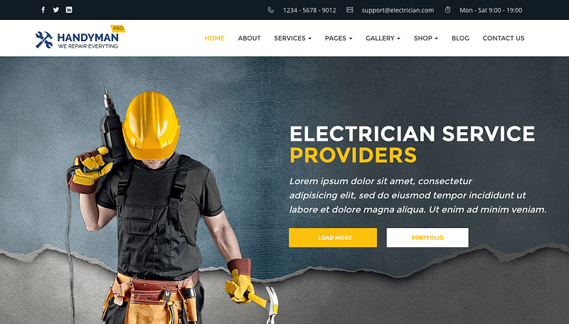 Handyman theme for electricians