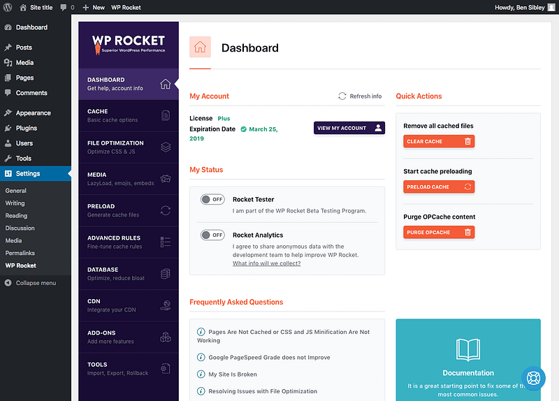 The WP Rocket Dashboard