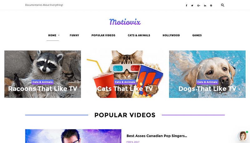 Motiovix video streaming theme