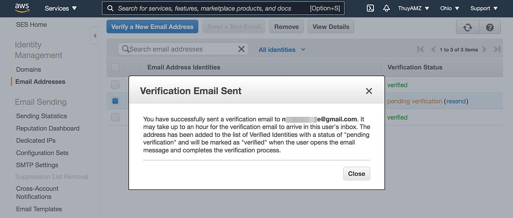 SES Verification Email
