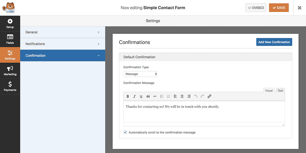 WPForms confirmations menu