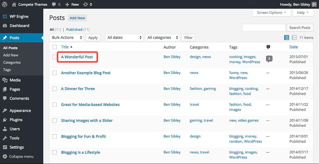 screenshot of the post list