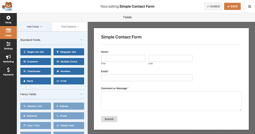 WPForms Simple Contact Form