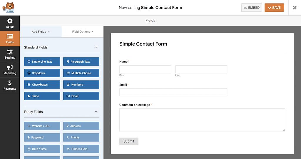 WPForms Simple Contact Form