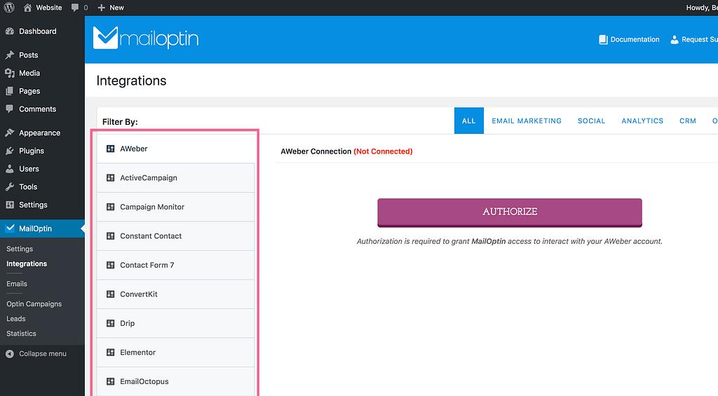 Mailoptin Integrations