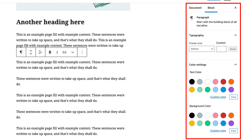 Block Customization Settings