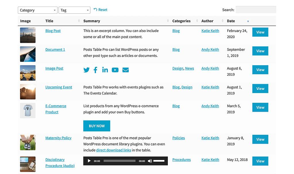 Insert Dynamic WordPress Table