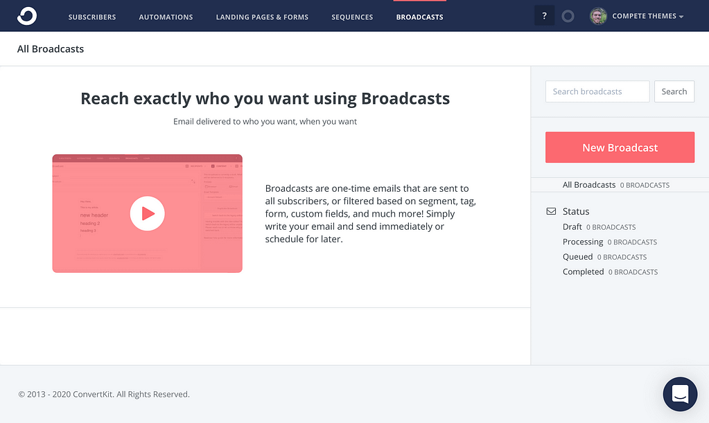 Convertkit Broadcasts