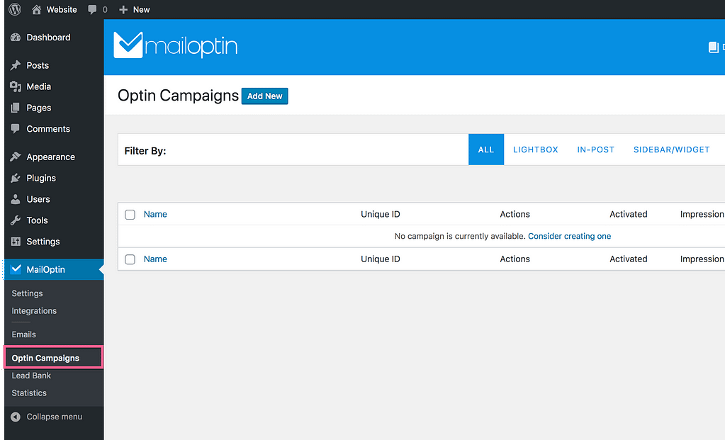 Mailoptin Campaigns
