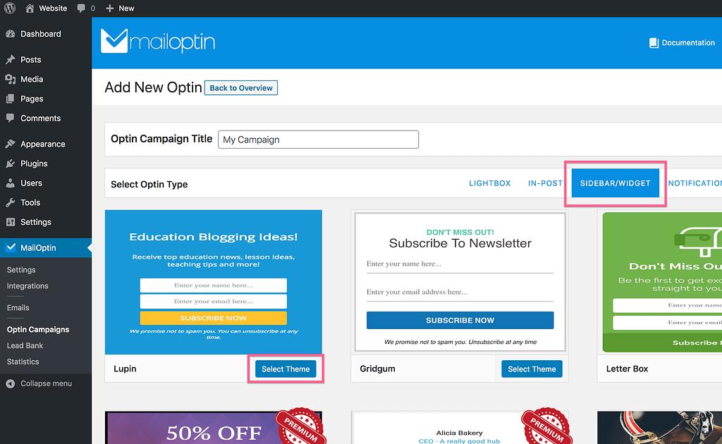 Mailoptin Select Theme
