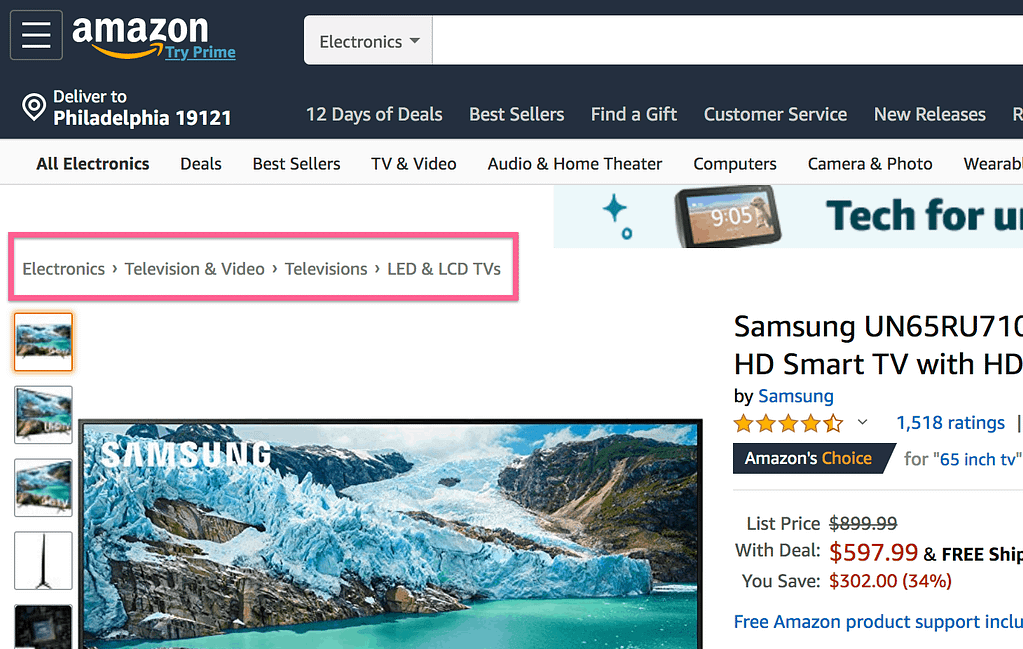 Amazon Breadcrumb Trail