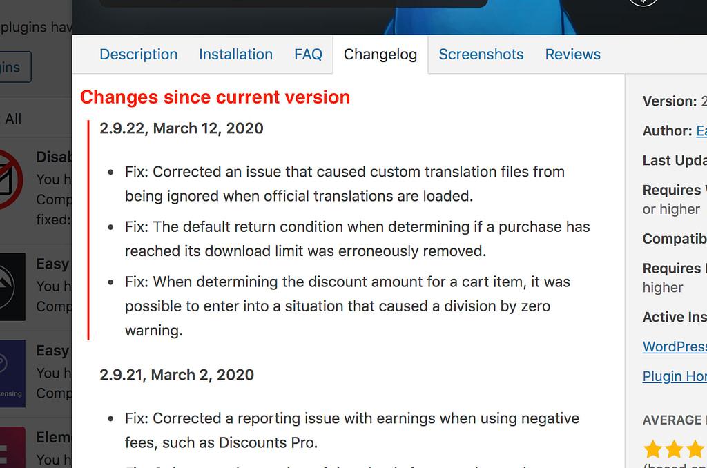 Plugin Changelog