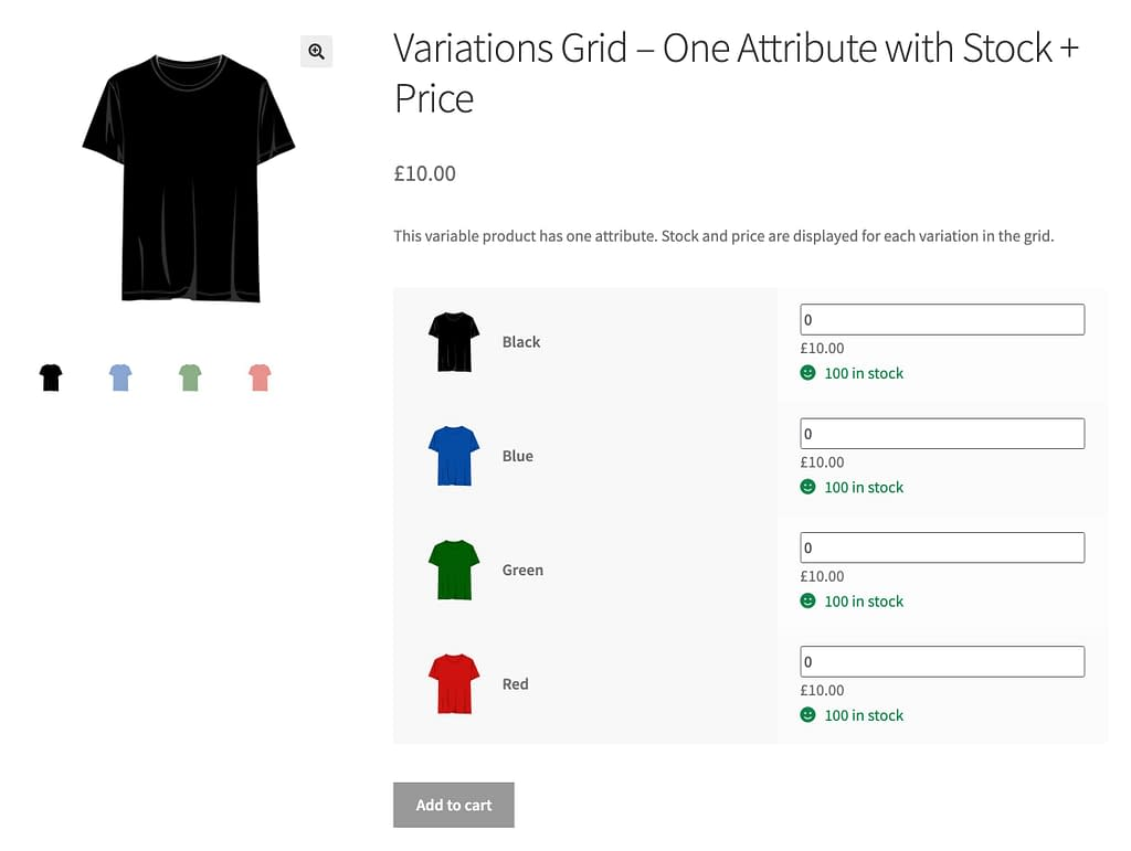 Attribute selection on product page