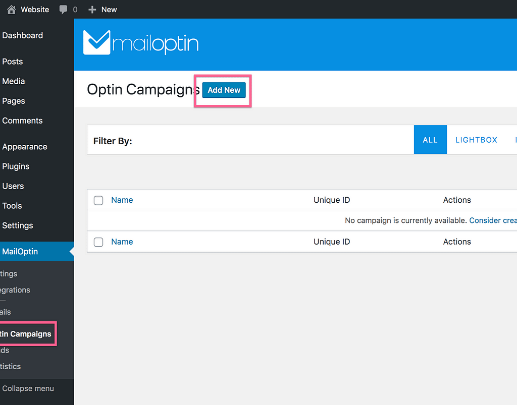 Add New Optin Campaign