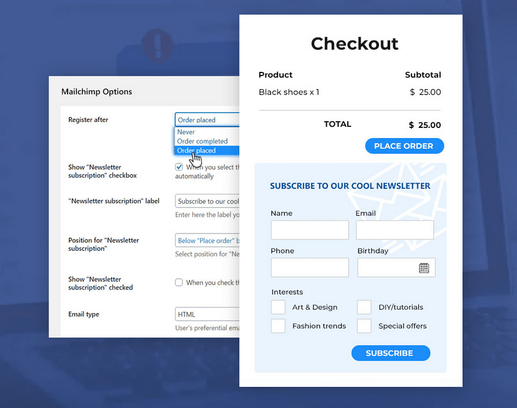 YITH MailChimp Settings