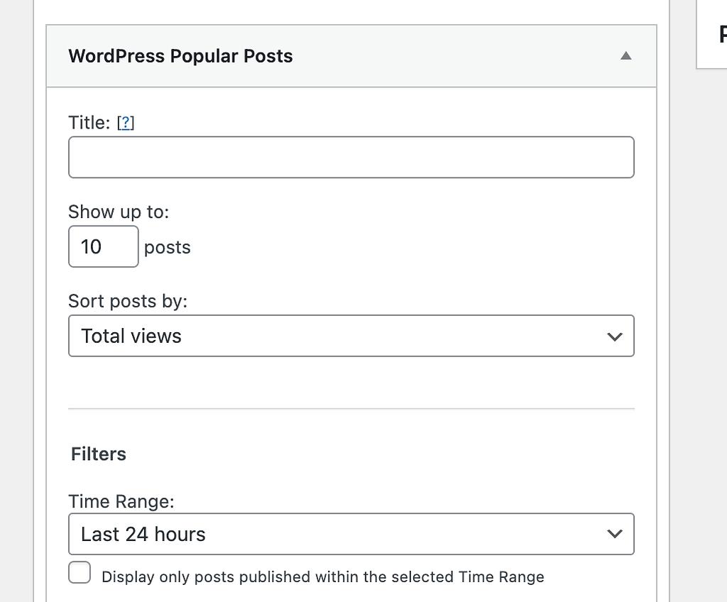 Wordpress Popular Posts Settings