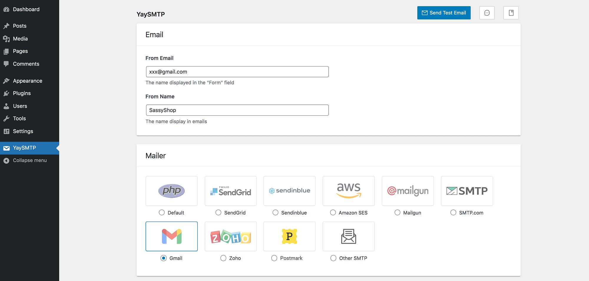YaySMTP Dashboard