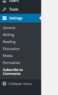 screenshot of the Subscribe to Comments Menu Item