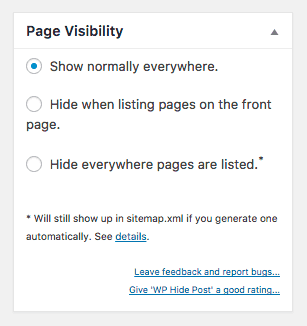 Page Visibility meta box