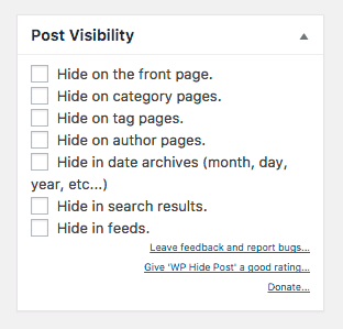 Screenshot of the post visibility settings