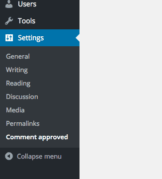 the Comment Approved menu item in WordPress dashboard