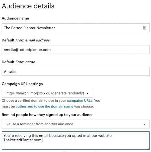 Mailchimp Audience Details