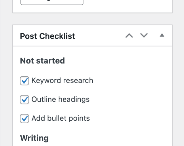 Post Checklists Editor Support