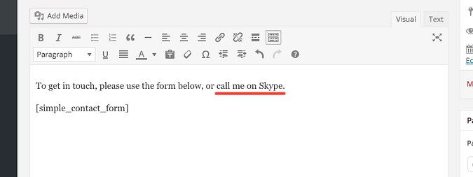 text to be used as anchor text for Skype link