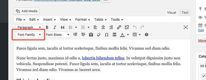 Font family drop-down selector