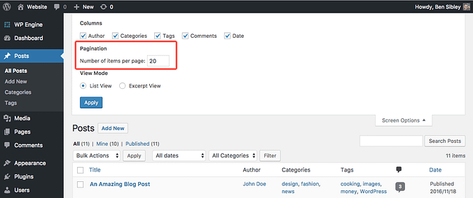 Pagination setting for changing posts per page