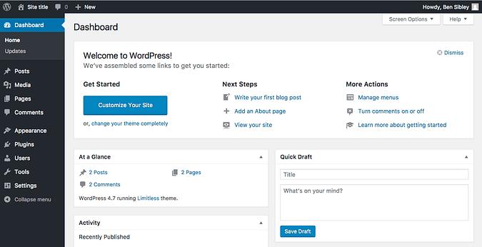Screenshot of the WordPress admin dashboard