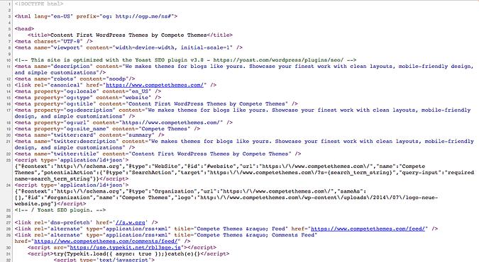 screenshot of competethemes.com source code