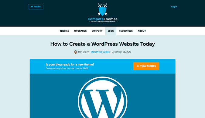 Screenshot of the WP site creation guide