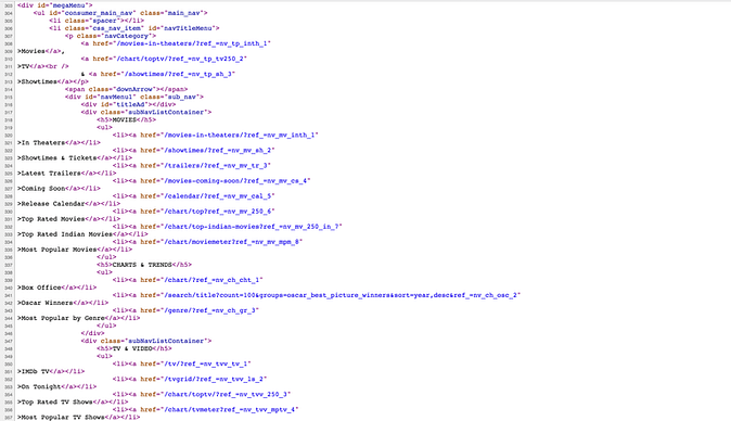 screenshot of the source HTML of IMDb.com