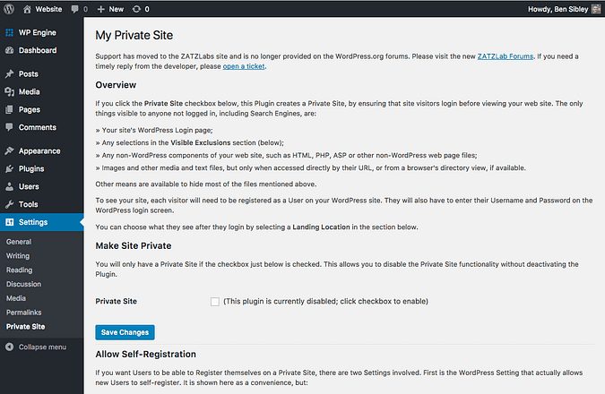 Settings page from the My Private Site plugin