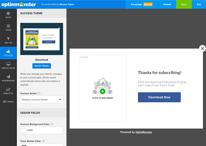 Screenshot of a success page being customized