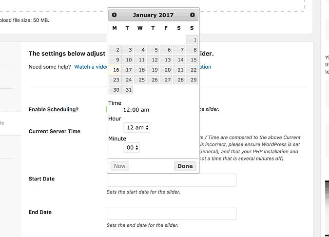 Date picker for sliders