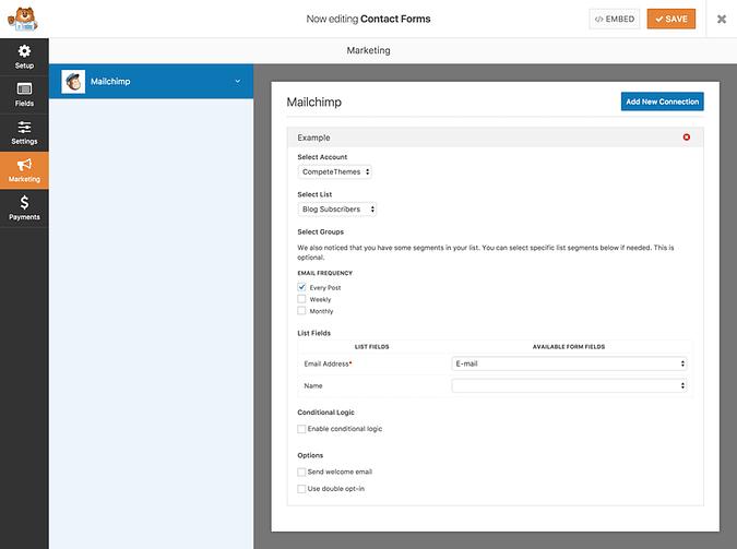 MailChimp subscription settings