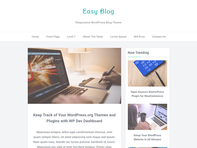 screenshot of the Easy Blog theme