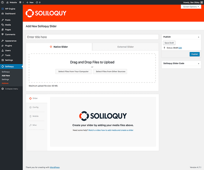 Add new slider page in Soliloquy