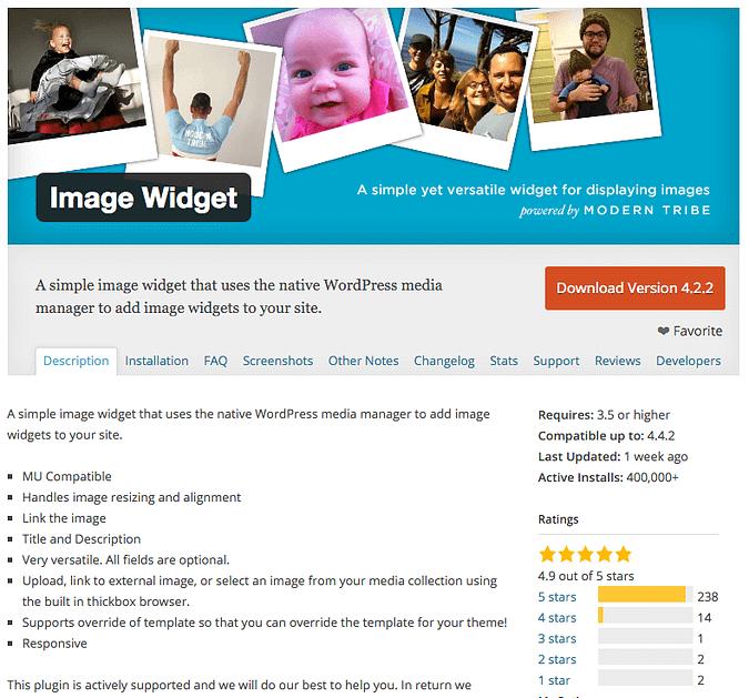 screenshot of the Image Widget plugin on wordpress.org