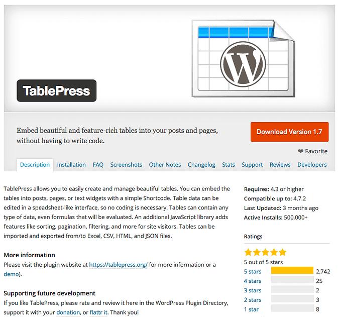 TablePress plugin