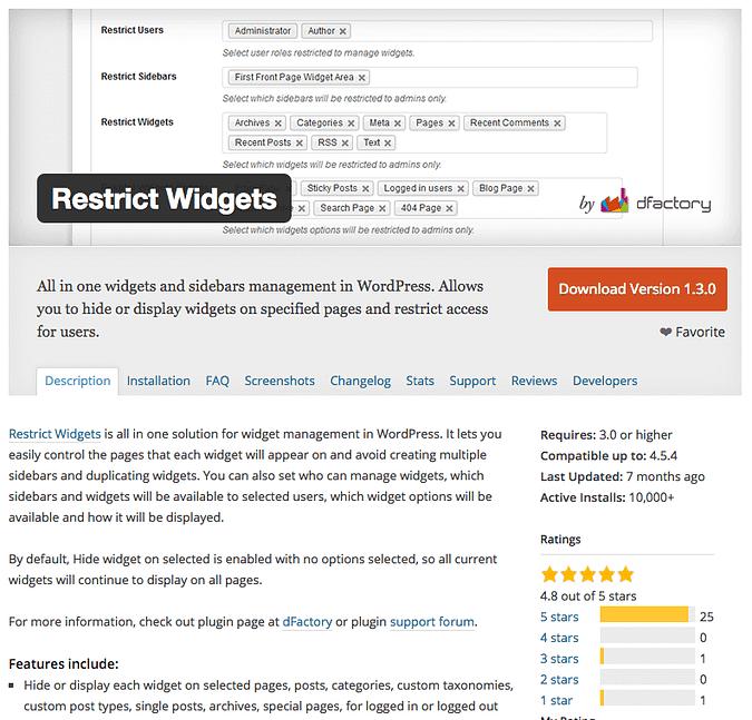 screenshot of the Restrict Widgets plugin on wordpress.org