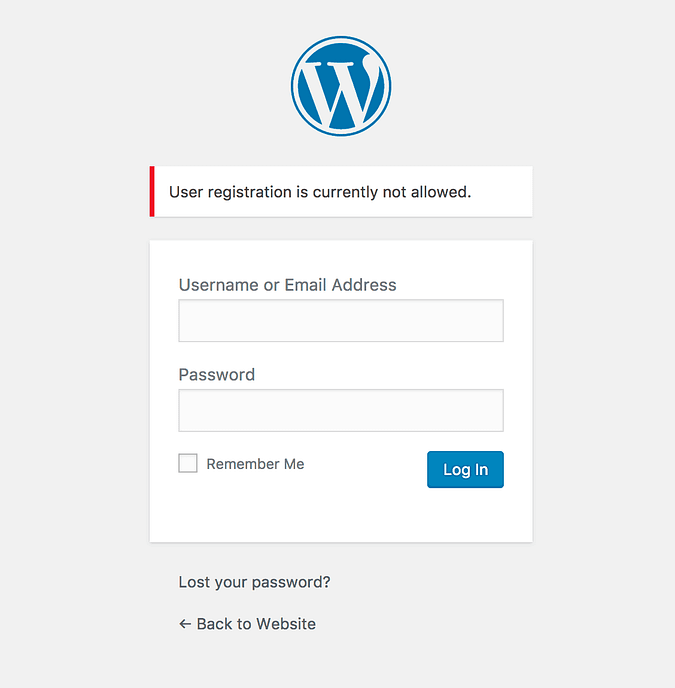 Notice shown when user registration disabled