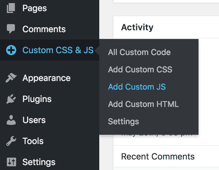 Custom CSS & JS Menu